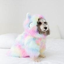 Słodki kociak ubranka dla psa kurtka dla psa koszula odzież dla zwierząt tęczowe futro ubranko dla psa ubrania dla szczeniaka buldog francuski Yorkshire ropa perro