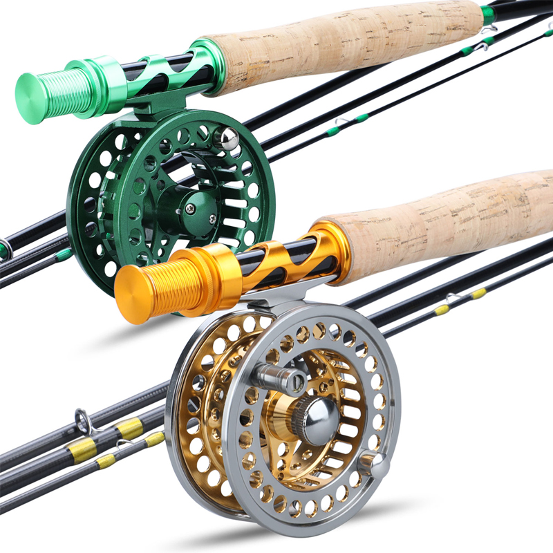 Fly-Fishing-Rod-Combo Fly-Reel Weight Combo-Pesca Carbon-Fiber Sougayialng 5/6 And Gold/green title=
