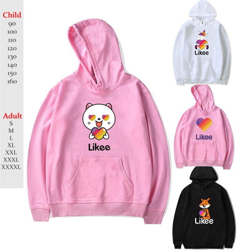 Russia Style Likee App LIKEE Hoodies Women Hoodie Rainbow Sweatshirt Trendy Streetwear Men Boys Girls Kids Cat Unicorn Fox Coat