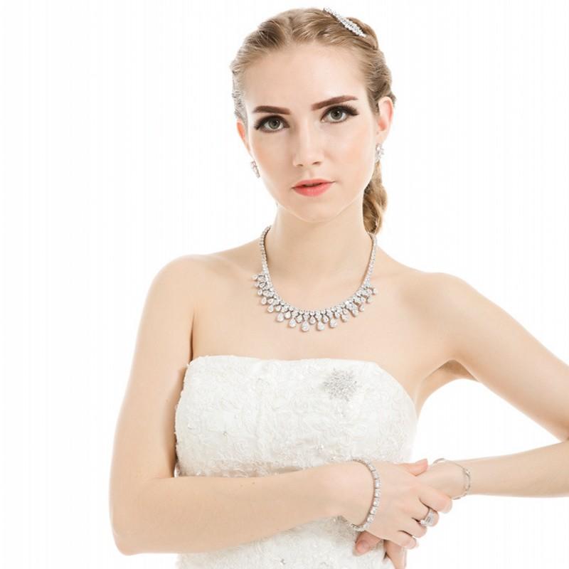 Water Drop Ketting Aaaaa Cz White Gold Filled Party Wedding Verklaring Hanger Necalace Voor Vrouwen Bridal Engagement Sieraden Gift - 6