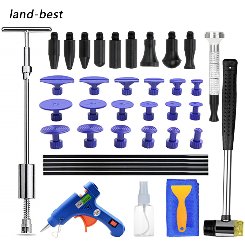 Tools Paintless Repair Car Dent Repair Dent Puller Kit 2 In 1 Slide Hammer Reverse Hammer Glue Tabs Suction Cups Remov Ice Pit