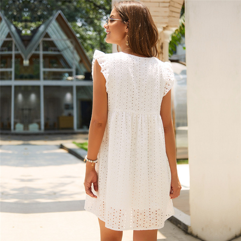 Solid Hollow Out  Short Dress Women New Sexy V Neck Butterfly Sleeve Hollow Lace Dress Casual Loose Summer Women Dress 3