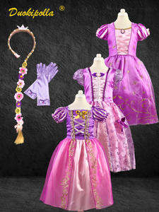 Rapunzel-Dress Hair-Wig Halloween-Costume Frock Fantasia-Infantil Birthday-Party Christmas