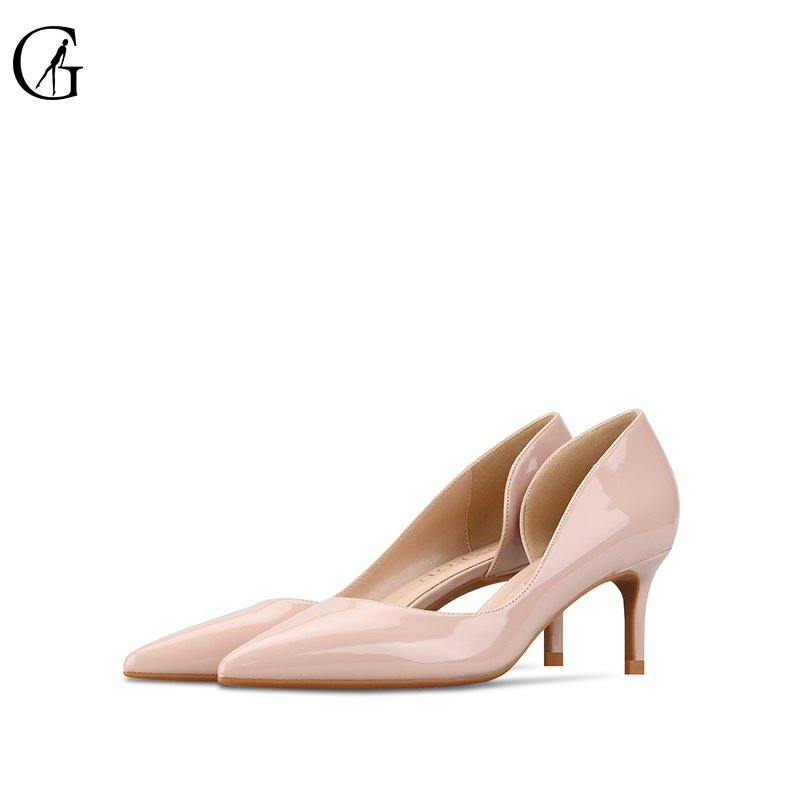 Женские туфли-лодочки из лакированной кожи, на высоком каблуке 6-10 см