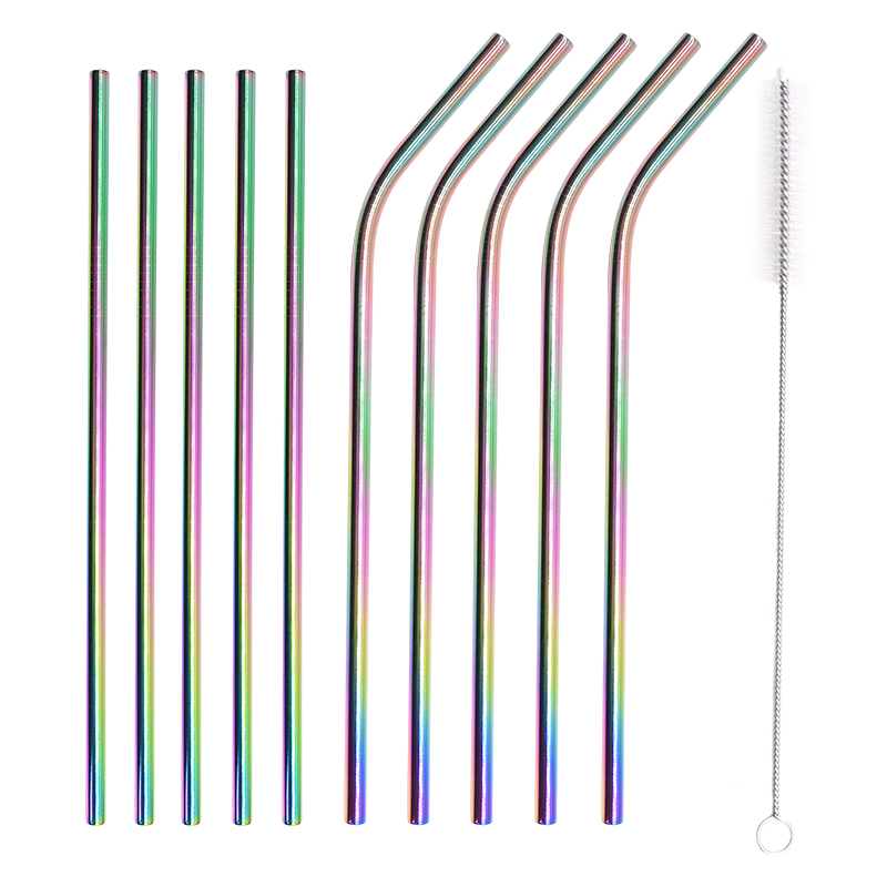 Reusable Drinking Straw 304 Stainless Steel Metal Straw Straight Straw With Cleaner Brush For Wedding Birthday Party Bar Decorat