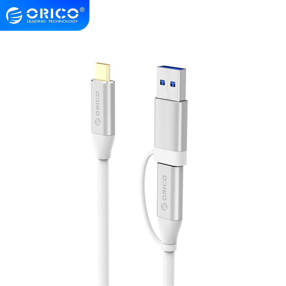 ORICO Data Cable Type-C to C&A Dual-Plug Cable <font><b>2</b></font> in 1 USB3.0 High Speed Transmission 5A 10Gpbs Charging Cable For Phone image
