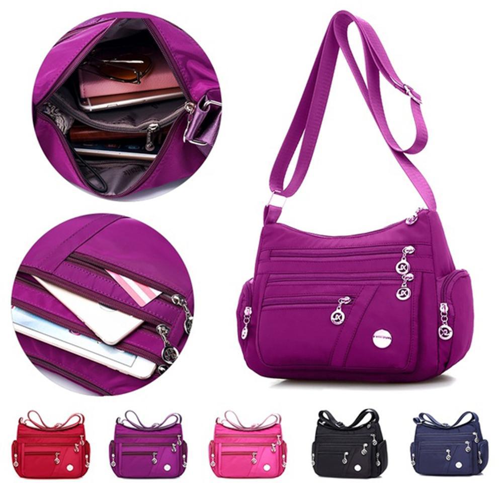 Bolsa de Peito Compartimento Múltiplo Crossbody Bags Feminino Mensageiro Pacote Bolsa Casual Impermeável Náilon Único Ombro Cinta Novo