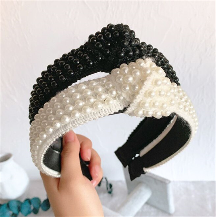 Women Bowknot Cross Elastic Hair Head Hoop Bands Accessories Headband Girls Wide Headdress Beading Pearl Hairbands