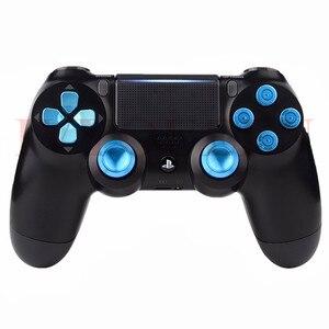 Image 5 - Ivyueen Dành Cho PlayStation 4 PS4 Pro Slim Bộ Điều Khiển Xanh Dương Nhôm Analog Ngón Tay Cái Gậy + Kim Loại Dpad Đạn 9 Mm Nút mod Kit