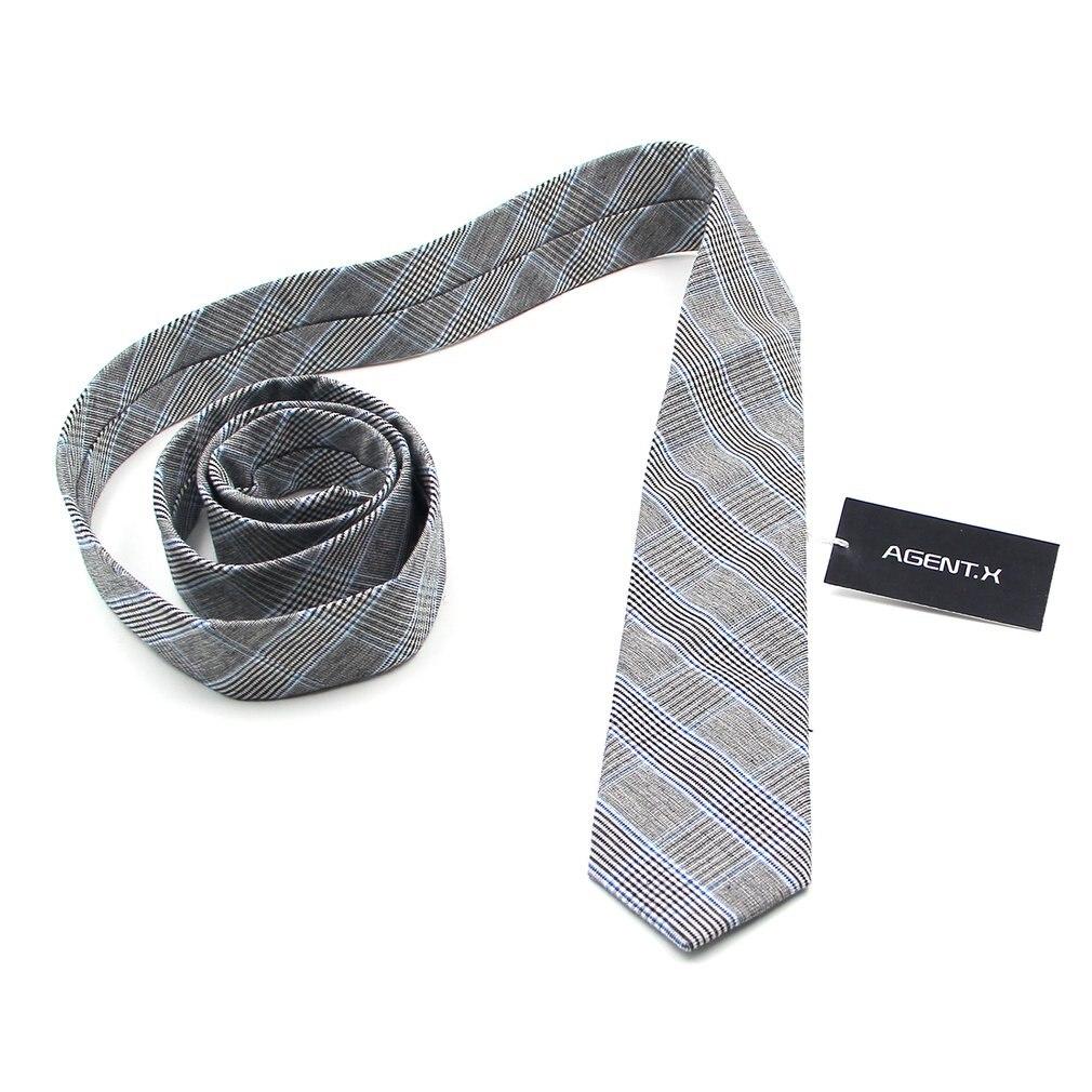 Fashion Men Chambray Business Suit Daily Casual Skinny Tie Narrow Slim Tie Grey Gingham Plaid Cotton Necktie Ties /ATB004-ATB007