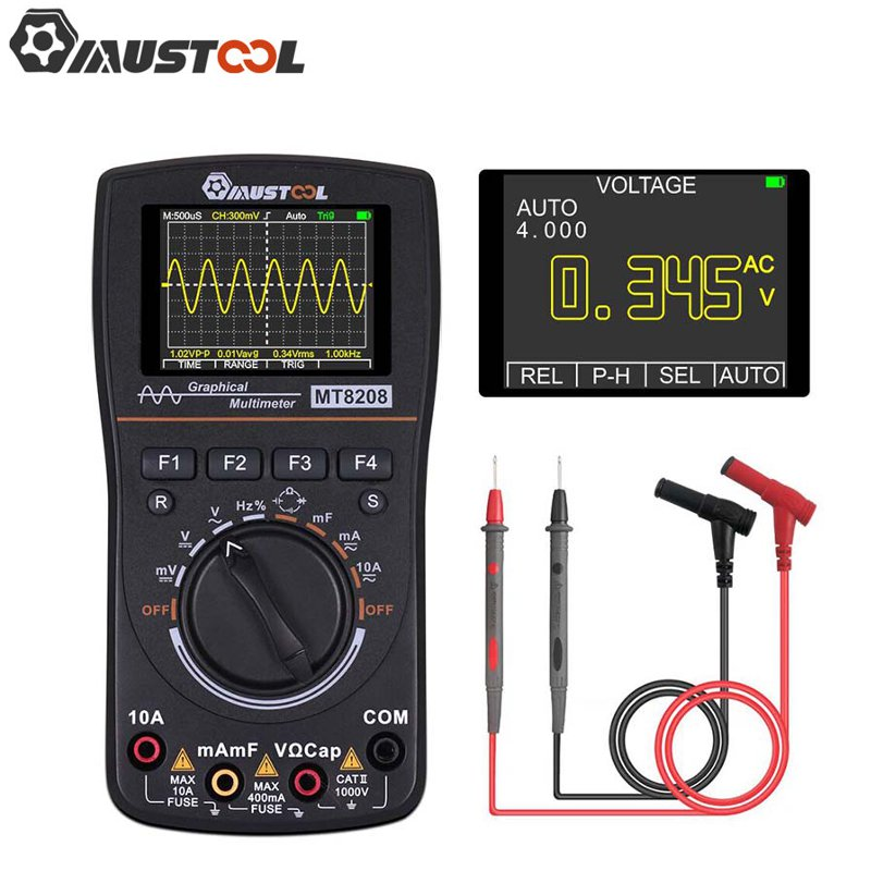 Upgraded MUSTOOL MT8208 2 In 1 HD Intelligent Digital Multimeter Graphical Oscilloscope 2 5Msps Sampling Rate Electronic Test