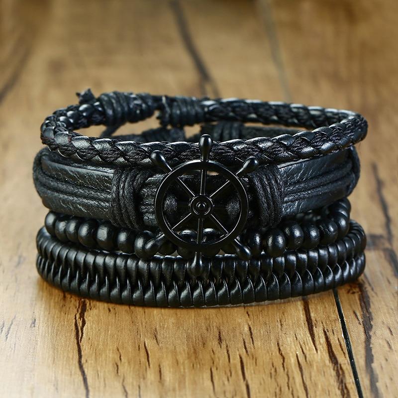Vnox Mix 4Pcs/ Set Braided Wrap Leather Bracelets for Men Women Vintage Wooden Beads Ethnic Tribal Wristbands Bracelet Rudder(China)