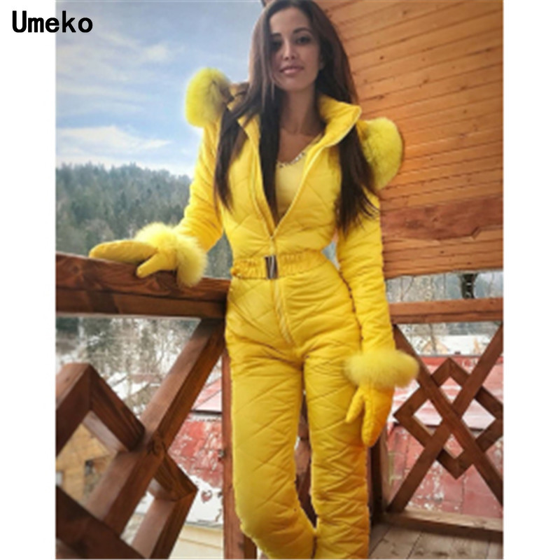 Umeko Silver Winter Hooded Jumpsuits Parka Cotton Padded Warm Sashes Ski Suit Straight Zipper One Piece Women Casual Tracksuits