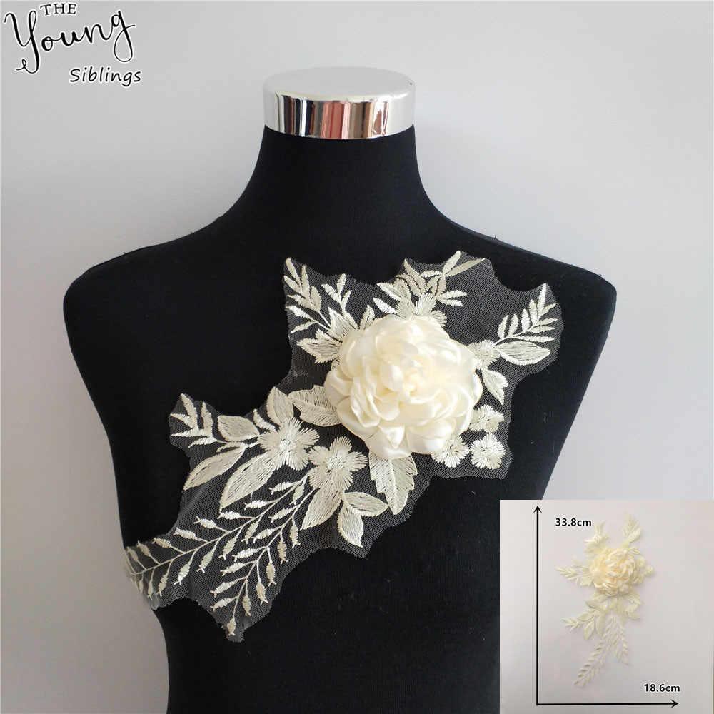 Nuevo llegada 3D bordado apliques corte tela de encaje cuello de encaje tul DIY encaje vestido de novia escote Accessoires artesanía suministros