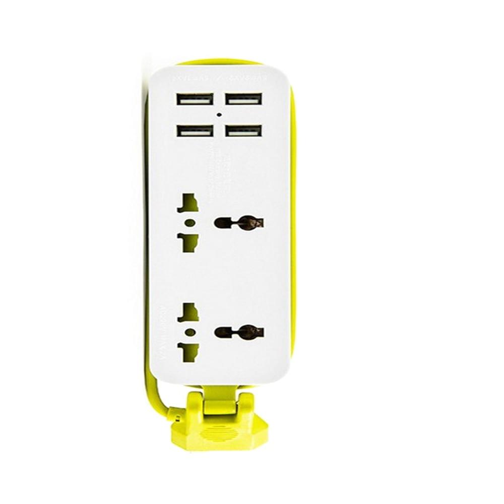 EU/UK/US Plug Socket Outlet Portable Travel Power Strip Surge Protector 2 Sockets With 4 USB 5V 2A Output Smart Charger