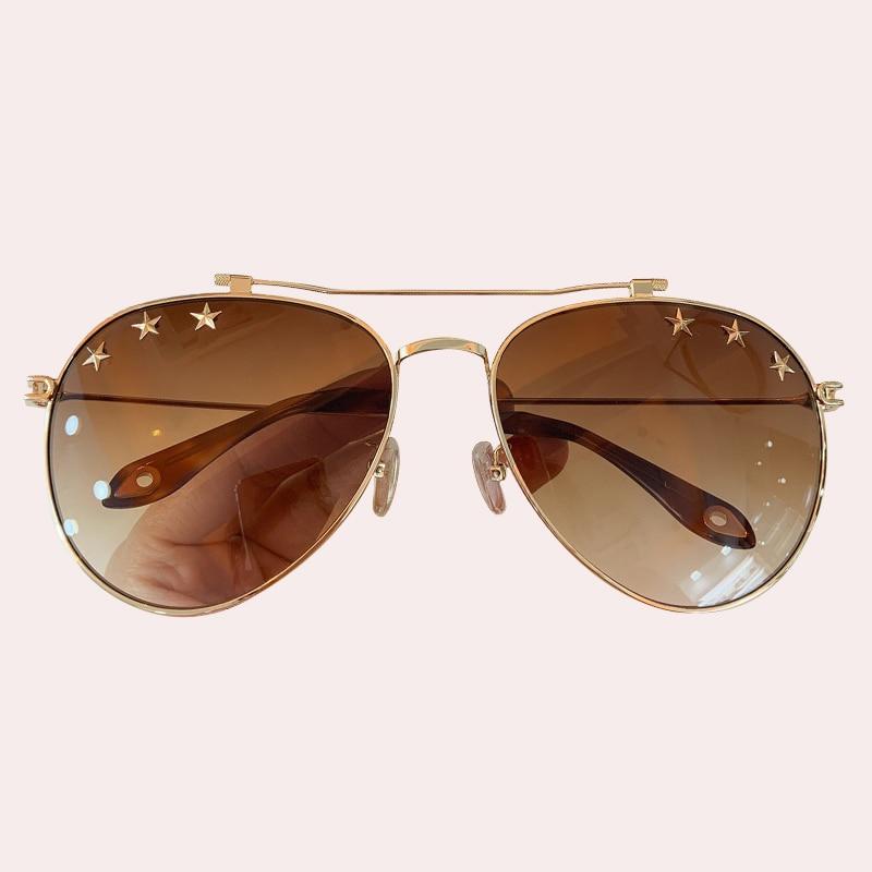 Metal Frame Pilot Sunglasses Women/Men Brand Designer Star Vintage Sun Glasses Personality UV400