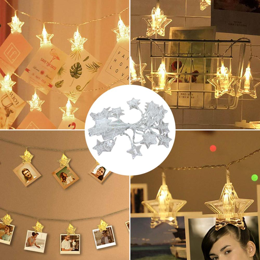 3M Photo Clip LED String Lights Star Fairy Lights Outdoor Battery Operated Garland Christmas Decoration Party Wedding Xmas