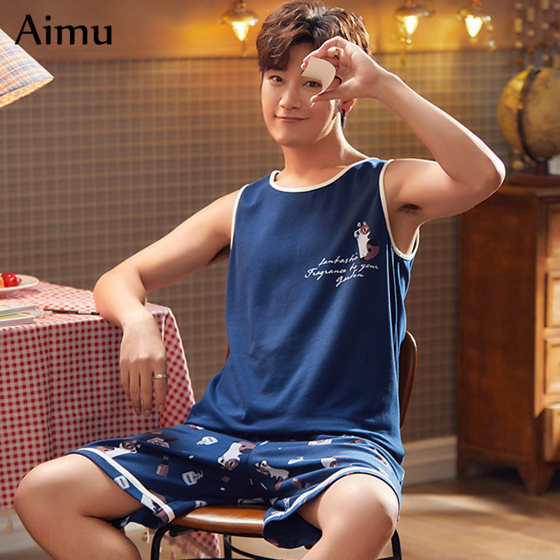 Korean Men's Pajamas Set Summer Thin Cotton Vest And Shorts Suit Youngs Homewear Fashion Sleeveless Tops Sleepwear Men Outwear