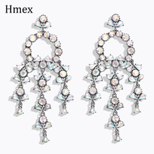 New Luxury Colorful Rhinestone Dangle Earrings For Women Сережки Fashion Jewelry Tassel Statement Bridal Gift