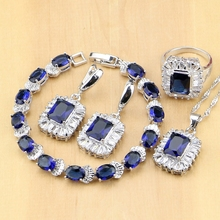 Kwadratowa niebieska cyrkonia sześcienna biżuteria biały kryształ 925 Sterling Silver Jewelry Sets kobiety kolczyki/wisiorek/naszyjnik/pierścionek/bransoletka