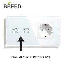 BSEED dokunmatik ışıklı anahtar ab güç duvar prizleri beyaz 300W duvar Led anahtarı 1/2/3Gang 1Way kristal cam Panel koyu arka ışık