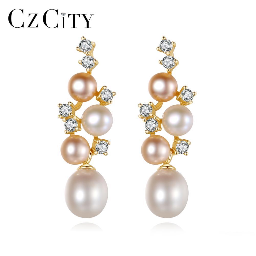 CZCITY Elegant Design Stud Earrings 925 Silver Women Wedding High Quality CZ 4A Rice Pearl Fine Jewelry Gift Oorbellen FE0260