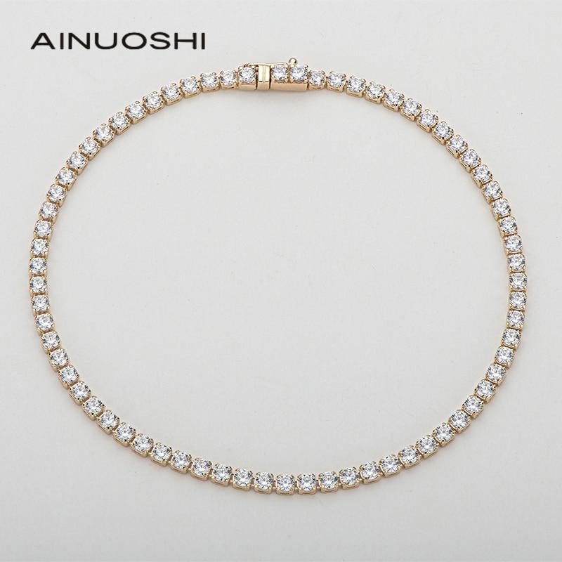 AINUOSHI 14K Yellow Gold 2.1mm Round Cut SONA Diamond Trendy Tennis Bracelet for Women Hip Hop 1 Row Charm Bracelet Jewelry 7