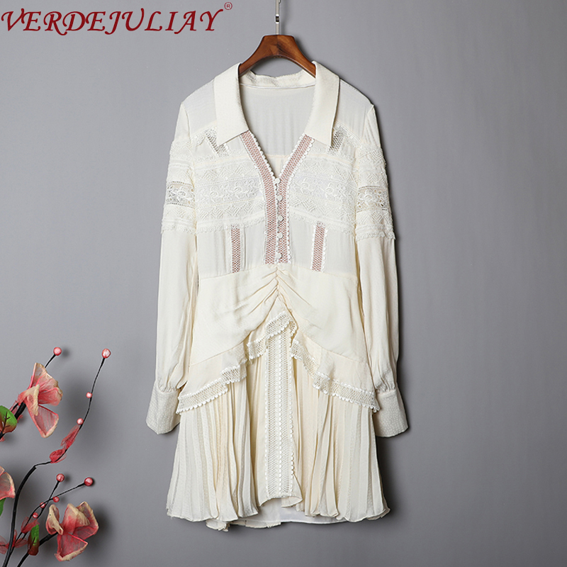 VERDEJULIAY Runway Fashion Autumn Lace Dress Women's Lantern Sleeve Green Beige Ruffled Pleated Elegant Casual Mini Dresses