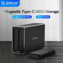 Orico Ns Serie 2 Bay 3.5 Type C Hdd Docking Station Aluminium Hdd Behuizing Ondersteuning 32Tb 5Gbps uasp 48W Power Hdd Case
