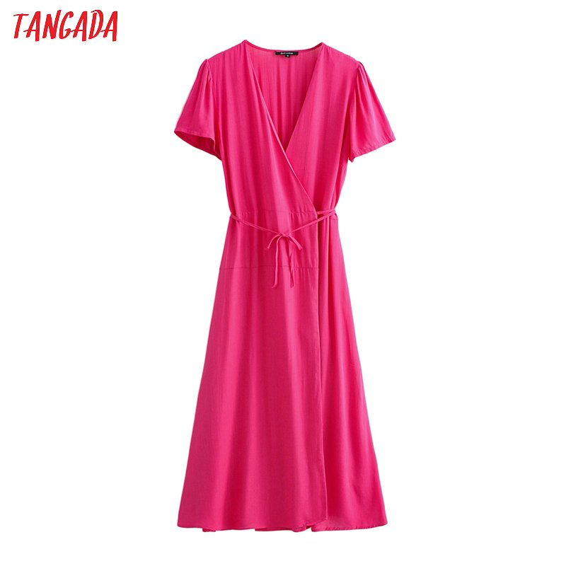 Tangada Fashion Women Hotpink Cotton Dress 2020 V Neck Short Sleeve Ladies Slash Midi Dress Vestidos JA06