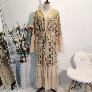 Sequins Kimono Abaya Dubai Moroccan kaftan Turkey Arabic Oman Islamic Open Abaya Khaki Eid Mubarak Muslim Clothing Chiffon 2020