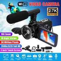 Videocámara 2,7 K cámara de vídeo Wifi IR visión nocturna 30MP 3,0 pulgadas pantalla LCD lapso de tiempo cámara fotográfica con micrófono