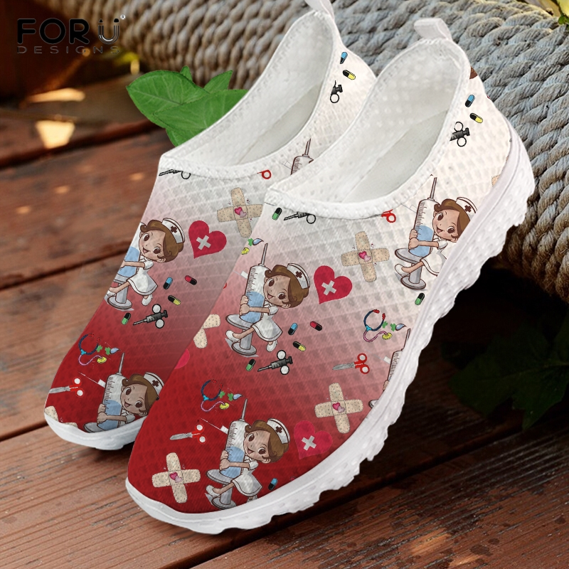 FORUDESIGNS Casual Summer Ladies Slip On Sneakers Lovely Cartoon Nurse Pattern Flats Shoes Red and White Gradient Women Footwear