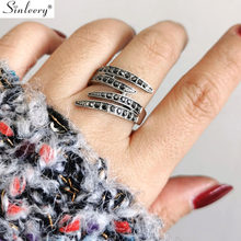 SINLEERY Vintage Multilayer Big Rings Antique Silver Color Full Tiny Black Zircon Rings For Women Fashion Jewelry JZ503 SSC(China)