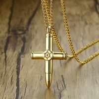 """Vnox design bala cruz pingentes para homens guarda série colar cor do ouro de aço inoxidável masculino colares 24 """"corrente"""