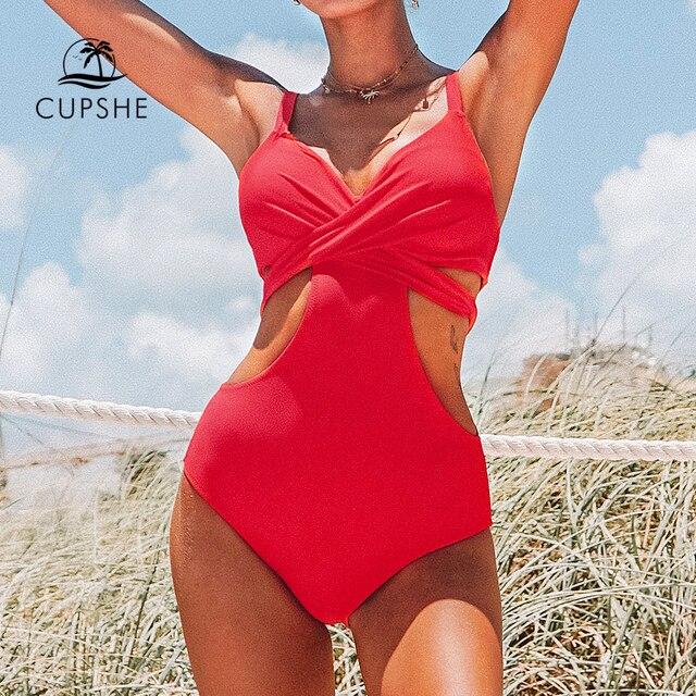 بدلة سباحة من CUPSHE مكونة من قطعة واحدة مزخرفة باللون الأحمر مع أكواب مزينة بأربطة من الخلف مثيرة للنساء مونوكيني موضة 2020 بدلة استحمام شاطئ للفتيات ملابس سباحة