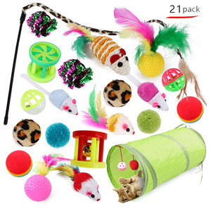 Image 2 - Kitten Toys Variety Pack Pet Cat Toy Combination Set Cat Toy Funny Cat Stick Sisal Mouse Bell Ball Cat Supplies 20/21 Piece Set