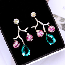 цена на Beilan Korean Pink/Green Cubic Zirconia Crystal Earrings for Women Girls Teardrop Rhinestone Long Drop Earring Jewelry YEA333