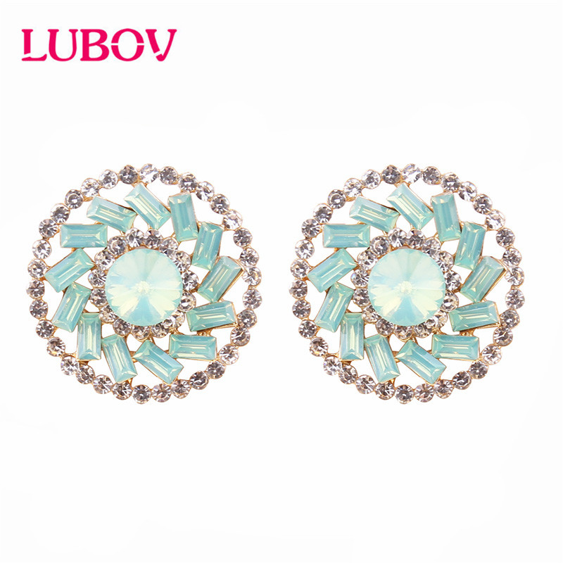 LUBOV 2019 NEW Korea Style Sun flower Earrings Golden Crystal Opal Stud Women Friendly Christmas Gifts for Girls