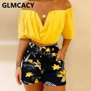 Women Off Shoulder Ruched Top & Tropical Print Shorts Set Two Piece Summer Beach Suits
