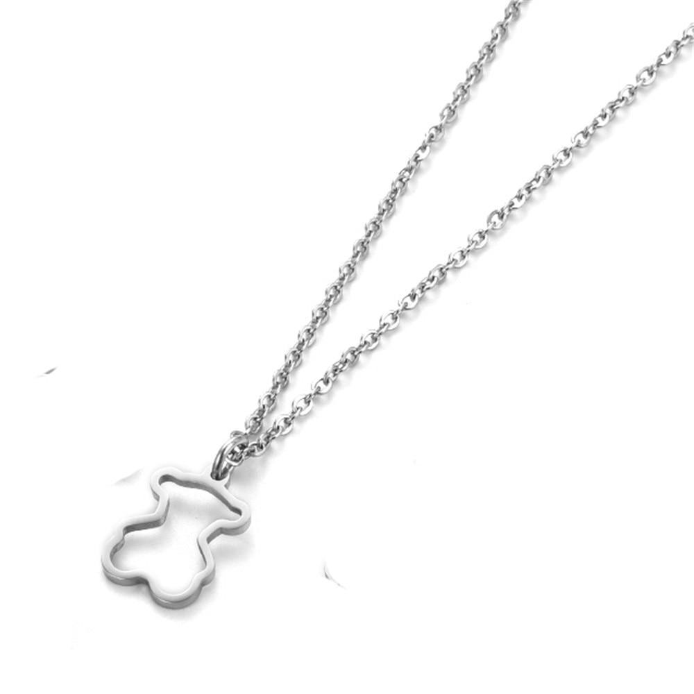 Niedźwiedź słodki ładny naszyjnik ze stali nierdzewnej biżuteria grzywny kolor dla kobiet dziewcząt i Valentine prezent urodzinowy super słodki