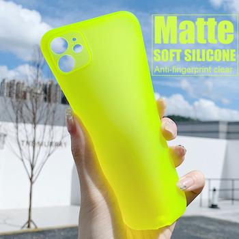 Matowe silikonowe etui fluorescencyjne dla iPhone 12 11 Pro Max XS XR X 7 8 Plus iPhone11 iPhone12 telefon przezroczyste matowe pełna okładka tanie i dobre opinie APPLE CN (pochodzenie) Częściowo przysłonięte etui Fluorescent Matte Soft Silicone Clear Case Zwykły Soft TPU Silicone