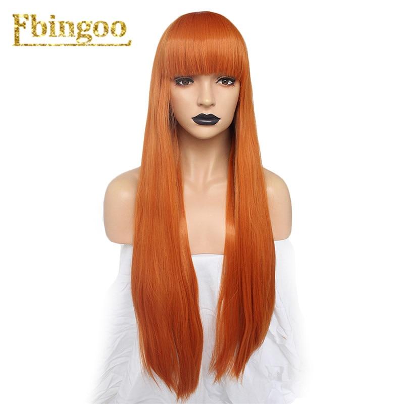 Ebingoo Persona 5 Futaba Sakura Wig Orange Synthetic Cosplay Wig With Bangs Pink Grey Blonde Long Straight Wig For Costume Party