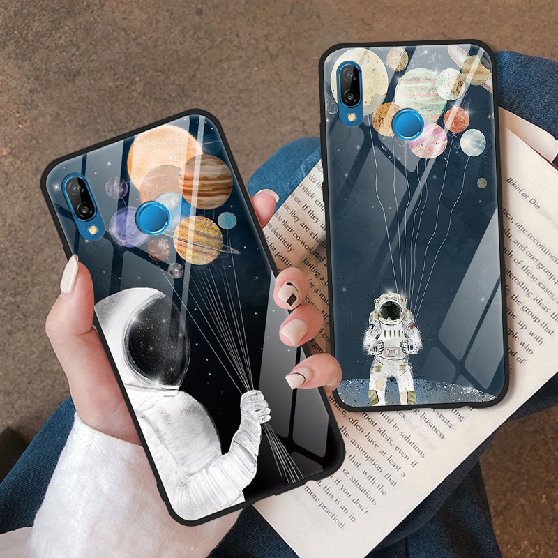 Tempered <font><b>Glass</b></font> <font><b>Case</b></font> For <font><b>Huawei</b></font> P20 <font><b>Lite</b></font> 2019 P30 P20 Pro <font><b>Lite</b></font> P20 P10 <font><b>P9</b></font> Plus P Smart 2019 Y9 Y6 2019 Cute Space Astronaut Cover image