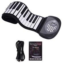 61 tasten MIDI Roll Up Piano Elektronische Silikon Tastatur Eingebaute Stereo Lautsprecher 1200MA Batterie Unterstützung Aufzeichnung Sustain Funktionen