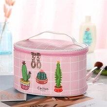 цена на Women's Cosmetic Bag, Travel Organizer Bag, Cartoon Cactus Print Makeup Bag, Portable Wash Bag, PU Leather Ladies Storage Bag