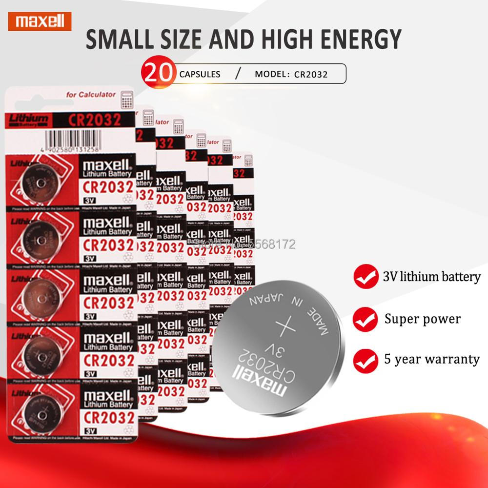 20 PC pour maxell CR2032 batterie 3V Lithium Batteries BR2032 DL2032 ECR2032 CR 2032 bouton pile pour montre voiture clé à distance