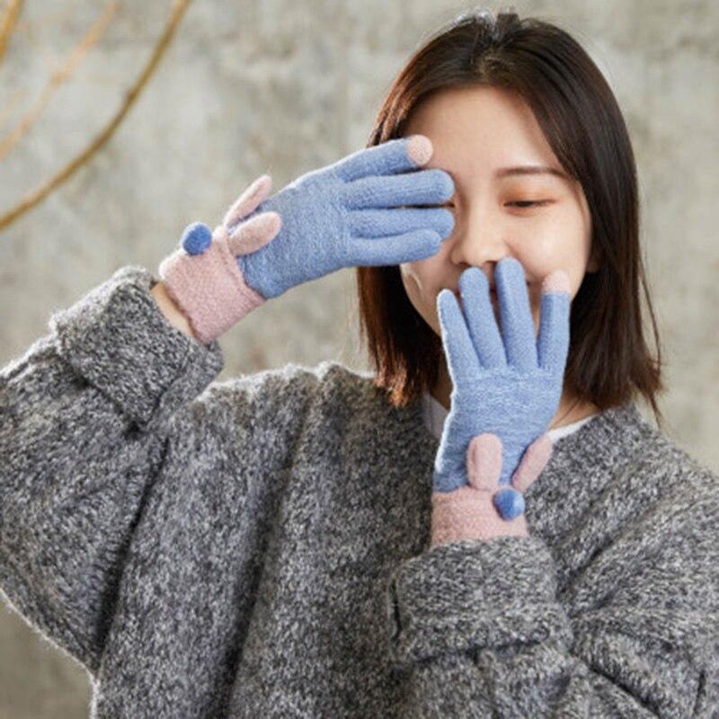 Women Autumn Winter Acrylic Stretch Knit Warm Full Finger Mittens Female Student Cute Cartoon Rabbit Touch Screen Gloves C89