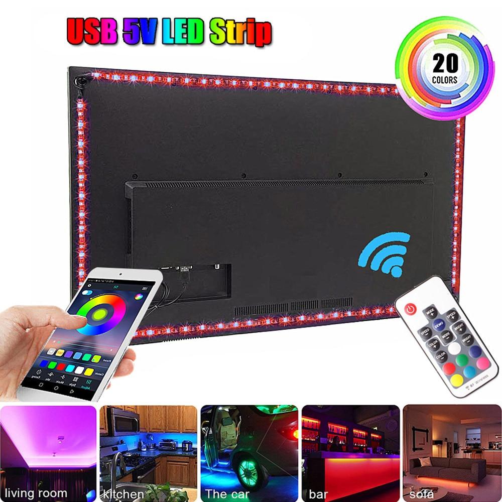 5050 RGB USB Led Light Strip 5V With Bluetooth Music Controller Ribbon Led Strips Tape For TV Background Lighting 50CM 1M 2M 3M