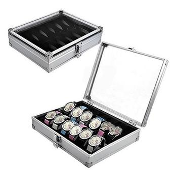 6/12 Grid Slots Aluminium Watch Box Display Case Jewelry Collection Casket Storage Organizer Wristwatch Suede Inside Box Holder outad 12 slots watches display box jewelry storage packaging gift casket double layers leather organizer holder rack case hot